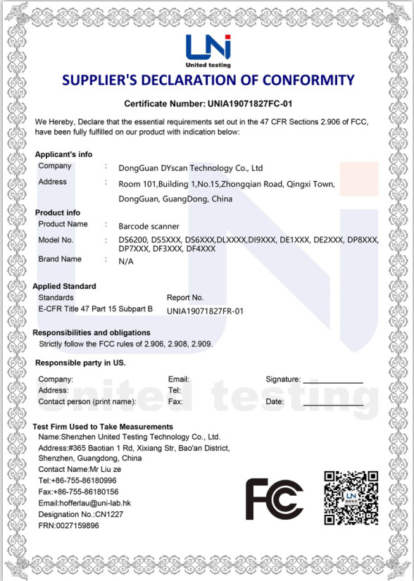 Chine DongGuan DYscan Technology Co., Ltd Certifications